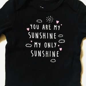 Your Are My Sunshine Black Onesie